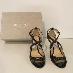 New Jimmy Choo Emily Glitter Heels 7.5 (37.5)